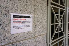 National Park Service Area Closed next to grated door stock photography