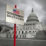 United States Government Shutdown. And american federal shut down due to spending bill disagreement as a national finance symbol with 3D illustration elements Stock Images