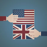 United States and Great Britain Flag Stock Photography