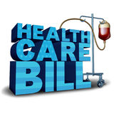 United States Health Care Bill. Concept and American medical insurance legislation symbol as text with a hospital intravenous blood bag as a government medicine Stock Photography