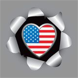 United states heart icon in paper hole Stock Photo