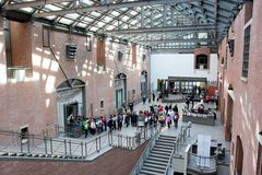 United States Holocaust Memorial Museum Lobby. The United States Holocaust Memorial Museum is the United States' official memorial to the Holocaust. Adjacent to Stock Images
