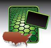 United states icon on green hexagon banner Royalty Free Stock Image