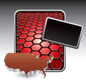 United states icon on red hexagon advertisement Royalty Free Stock Images