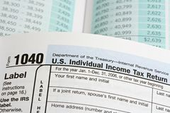 United States Income Tax Form 1040 Stock Image