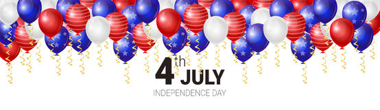 United States Independence Day Holiday 4 July Greeting Card. Flat Vector Illustration Royalty Free Stock Image