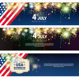 United States Independence Day Holiday 4 July Horizontal Banners Set Royalty Free Stock Photography