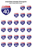 United States Interstate Signs I-30 to I-49 stock illustration
