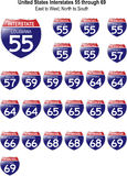 United States Interstate Signs I-55 to I-69 Royalty Free Stock Photography
