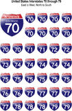United States Interstates 70 through 79. US Interstate Signs I-70 through I-79 with reflective-looking surface Stock Images