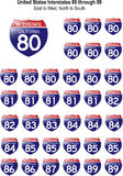 United States Interstates 80 through 89. US Interstate Signs I-80 through I-89 with reflective-looking surface Vector Illustration