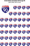 United States Interstates 90 through 99 Royalty Free Stock Image