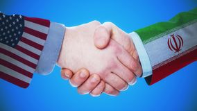 United States - Iran / Handshake concept animation about countries and politics / With matte channel. Handshaking of the men wearing flag pattern suit 4K stock video