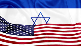 United states and Israel flags on silk texture Royalty Free Stock Images