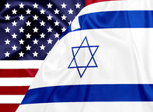 United states and Israel flags on silk texture Royalty Free Stock Image
