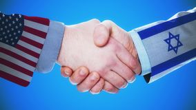 United States - Israel / Handshake concept animation about countries and politics / With matte channel. Handshaking of the men wearing flag pattern suit 4K stock video footage