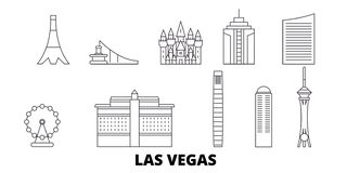 United States, Las Vegas line travel skyline set. United States, Las Vegas outline city vector illustration, symbol stock illustration