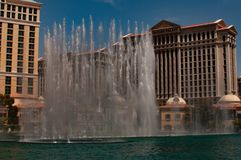 United States, Las Vegas, Nevada, View on Bellagio Fountain, Bally`s and Paris Casinos. royalty free stock photography