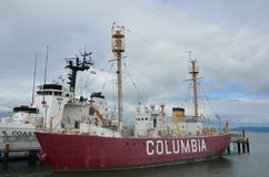 United States lightship Columbia WLV-604, Astoria, Oregon. United States lightship Columbia WLV-604 is a lightship located in Astoria, Oregon Stock Photography