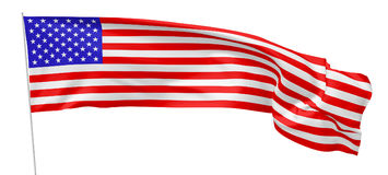 United States long flag with flagpole. National flag of United States of America with stars and stripes with flagpole flying and waving in the wind isolated on Royalty Free Stock Image