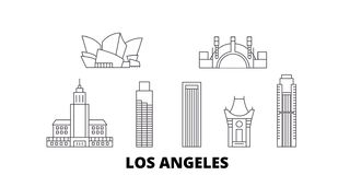 United States, Los Angeles line travel skyline set. United States, Los Angeles outline city vector illustration, symbol royalty free illustration