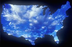 United States mainland with sky. Special effects: Outline of the United States mainland with sky Stock Photos