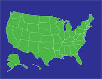 United states map 02. A basic map of the united states of america in green on a blue background Stock Images