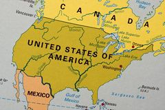 United States on a map Royalty Free Stock Images