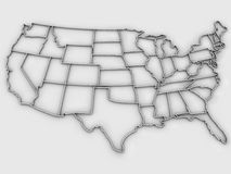 United States map 3d. 3D isolated map of United States. Computer render Stock Photo