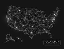 United States map abstract vector background. Black and white glowing lines connected on a dark solid color background Royalty Free Stock Image