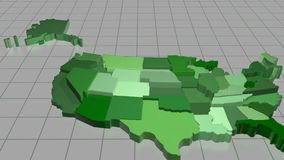 United States Map Animation. The camera rises up revealing each of the American states stock footage