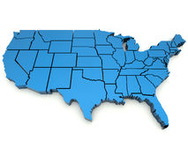 United States map. Blue elevated map with state borders royalty free illustration