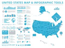 United States Map - Info Graphic Vector Illustration. United States Map - Detailed Info Graphic Vector Illustration Stock Photo