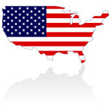 United States Map and Flag. United States Map with stars and stripes over white Royalty Free Stock Image