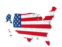 United States Map with Flag Stock Photography