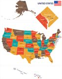 United States - map and flag illustration Stock Images