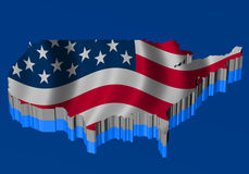 United States Map with flag over the map Stock Photo