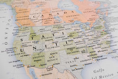 United States map. (Geographical view altered on colors/perspective and focus on the edge. Names can be partial or incomplete Stock Images