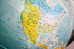 United States map on a globe. Closeup of United States map on a globe Royalty Free Stock Images