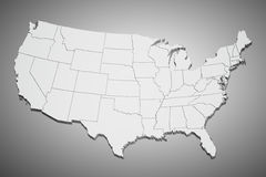 United States map on gray. Map of the continental United States in 3D on gray background Stock Images
