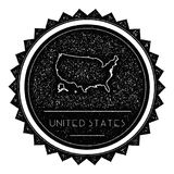 United States Map Label with Retro Vintage Styled. United States Map Label with Retro Vintage Styled Design. Hipster Grungy United States Map Insignia Vector Stock Image