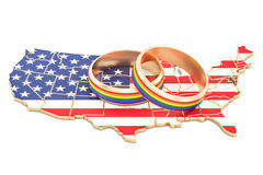 United States map with LGBT rainbow rings, 3D rendering Royalty Free Stock Images
