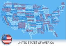 United states map made of words Royalty Free Stock Photo