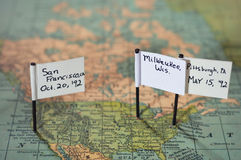 United States Map. With markers pointing out San Francisco, CA, Milwaukee, Wi. and Pittsburgh, Pa Royalty Free Stock Photos