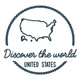 United States Map Outline. Vintage Discover the. United States Map Outline. Vintage Discover the World Rubber Stamp with United States Map. Hipster Style royalty free illustration
