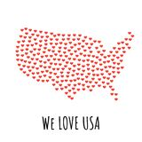 United States Map with red hearts - symbol of love. abstract background. United States Map with red hearts- symbol of love. abstract background with text We Love Stock Images