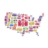 United States map with retro camera icons Royalty Free Stock Photography
