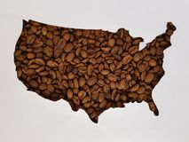 United States map with roasted coffee beans and white background. Backdrop ir new year celebration, ingredient for beverages with caffeine, textured background Stock Photography