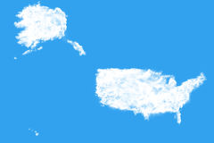United States map shape clouds. United States of America map shape clouds Royalty Free Stock Images