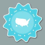 United States map sticker in trendy colors. Star shaped travel sticker with country name and map. Can be used as logo, badge, label, tag, sign, stamp or emblem Stock Images